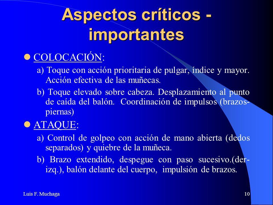 Luis F. Muchaga10 Aspectos críticos - importantes COLOCACIÓN: a) Toque con acción prioritaria de pulgar, índice y mayor. Acción efectiva de las muñeca