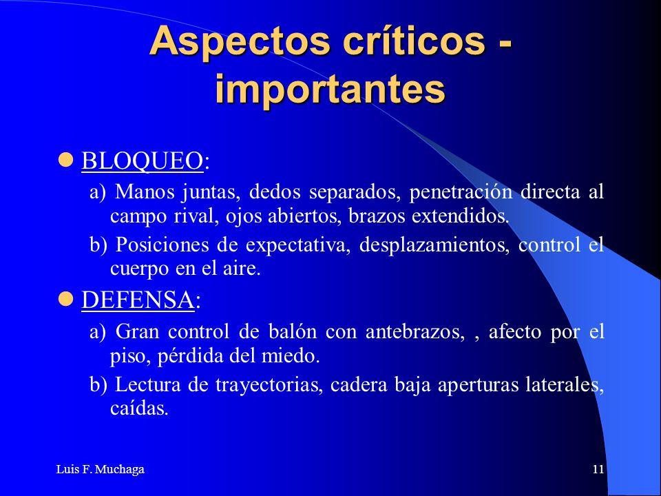 Luis F. Muchaga11 Aspectos críticos - importantes BLOQUEO: a) Manos juntas, dedos separados, penetración directa al campo rival, ojos abiertos, brazos