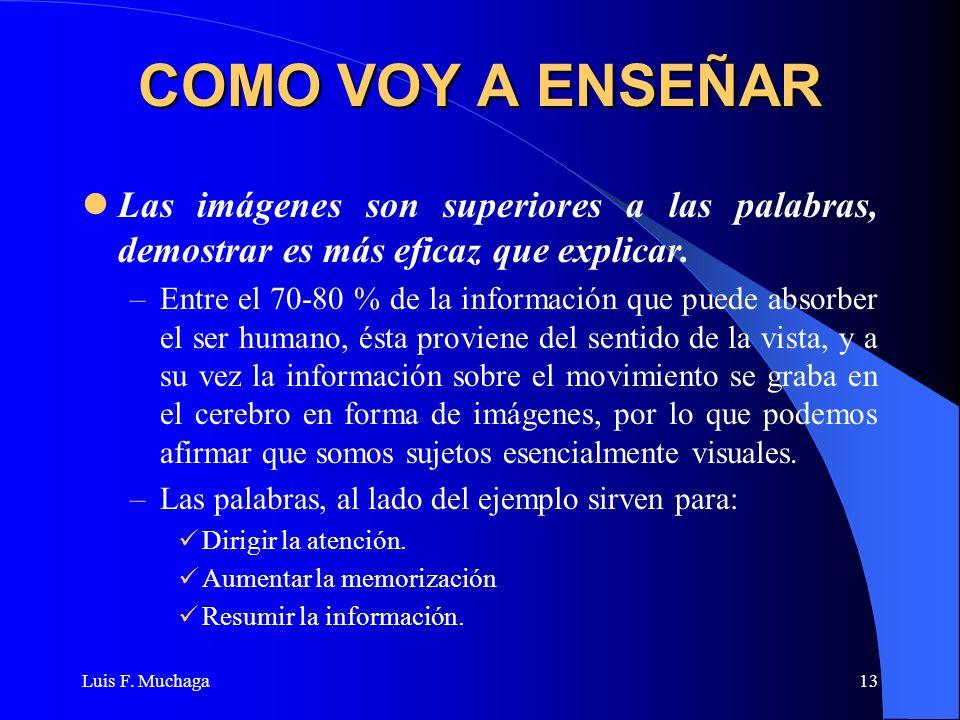 Luis F. Muchaga13 COMO VOY A ENSEÑAR Las imágenes son superiores a las palabras, demostrar es más eficaz que explicar. –Entre el 70-80 % de la informa