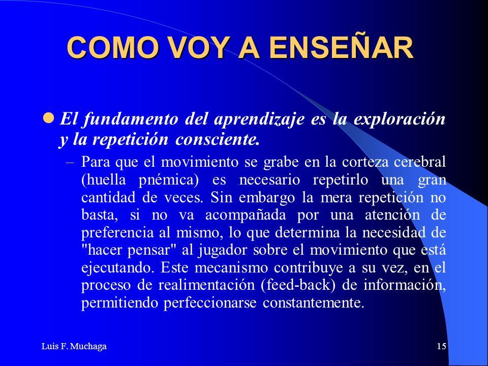 Luis F. Muchaga15 COMO VOY A ENSEÑAR El fundamento del aprendizaje es la exploración y la repetición consciente. –Para que el movimiento se grabe en l