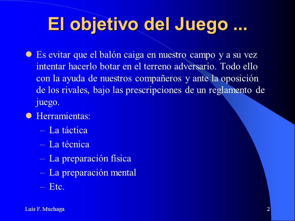Luis F. Muchaga2 El objetivo del Juego... Es evitar que el balón caiga en nuestro campo y a su vez intentar hacerlo botar en el terreno adversario. To