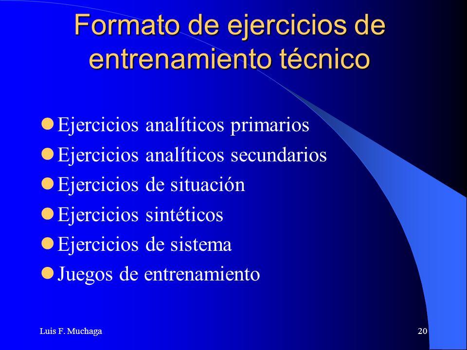 Luis F. Muchaga20 Formato de ejercicios de entrenamiento técnico Ejercicios analíticos primarios Ejercicios analíticos secundarios Ejercicios de situa