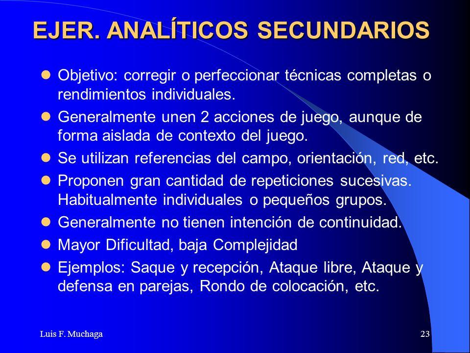 Luis F. Muchaga23 EJER. ANALÍTICOS SECUNDARIOS Objetivo: corregir o perfeccionar técnicas completas o rendimientos individuales. Generalmente unen 2 a