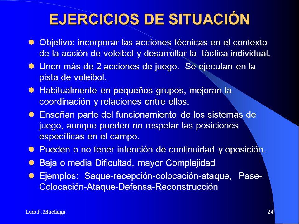Luis F. Muchaga24 EJERCICIOS DE SITUACIÓN Objetivo: incorporar las acciones técnicas en el contexto de la acción de voleibol y desarrollar la táctica