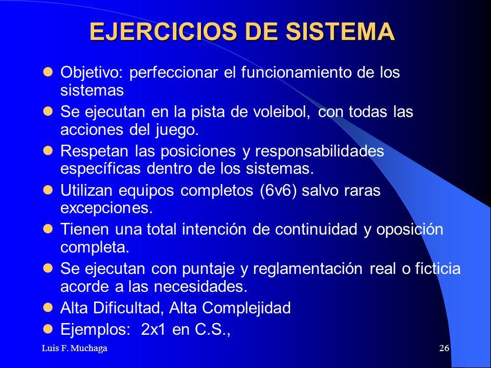 Luis F. Muchaga26 EJERCICIOS DE SISTEMA Objetivo: perfeccionar el funcionamiento de los sistemas Se ejecutan en la pista de voleibol, con todas las ac