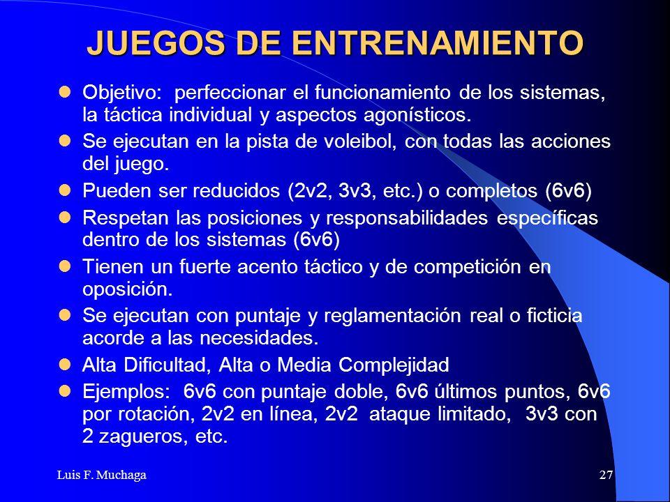 Luis F. Muchaga27 JUEGOS DE ENTRENAMIENTO Objetivo: perfeccionar el funcionamiento de los sistemas, la táctica individual y aspectos agonísticos. Se e