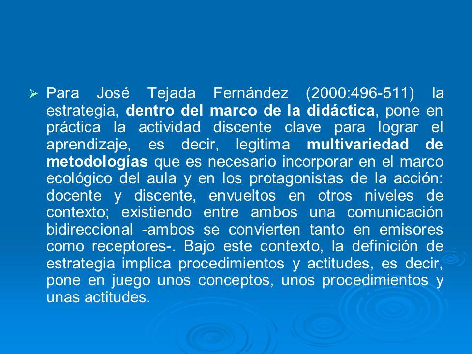 Para José Tejada Fernández (2000:496-511) la estrategia, dentro del marco de la didáctica, pone en práctica la actividad discente clave para lograr el aprendizaje, es decir, legitima multivariedad de metodologías que es necesario incorporar en el marco ecológico del aula y en los protagonistas de la acción: docente y discente, envueltos en otros niveles de contexto; existiendo entre ambos una comunicación bidireccional -ambos se convierten tanto en emisores como receptores-.