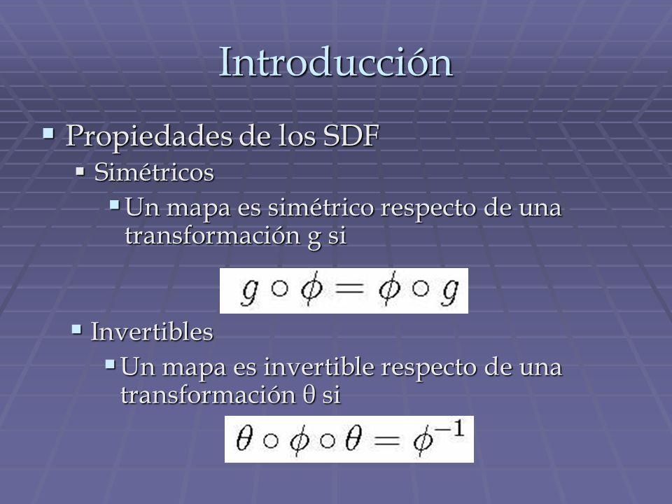 Introducción Propiedades de los SDF Propiedades de los SDF Simétricos Simétricos Un mapa es simétrico respecto de una transformación g si Un mapa es s