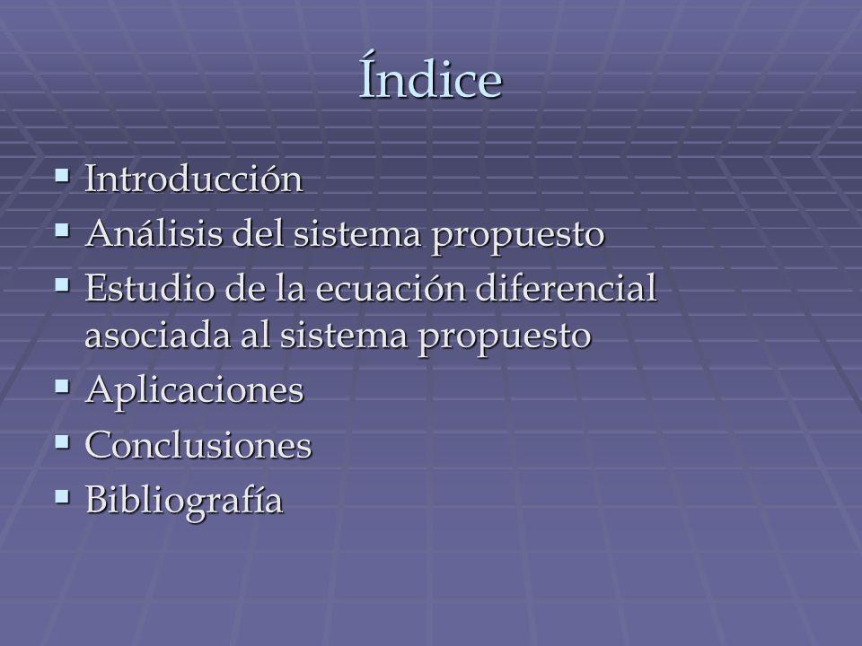 Índice Introducción Introducción Análisis del sistema propuesto Análisis del sistema propuesto Estudio de la ecuación diferencial asociada al sistema