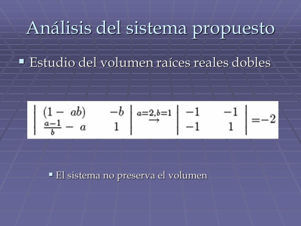 Análisis del sistema propuesto Estudio del volumen raíces reales dobles Estudio del volumen raíces reales dobles El sistema no preserva el volumen El