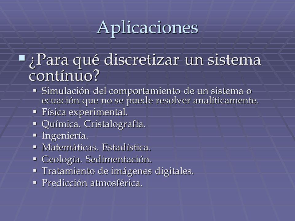 Aplicaciones ¿Para qué discretizar un sistema contínuo? ¿Para qué discretizar un sistema contínuo? Simulación del comportamiento de un sistema o ecuac