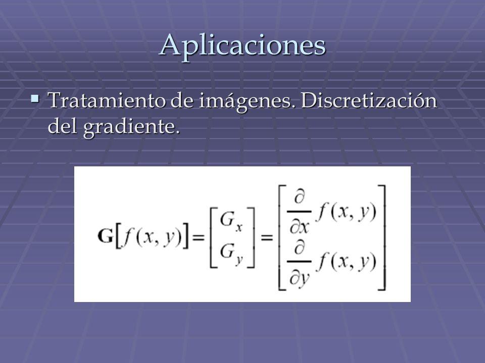 Aplicaciones Tratamiento de imágenes. Discretización del gradiente. Tratamiento de imágenes. Discretización del gradiente.