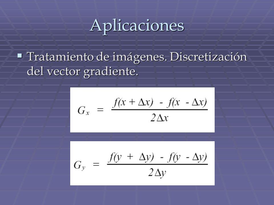 Aplicaciones Tratamiento de imágenes. Discretización del vector gradiente. Tratamiento de imágenes. Discretización del vector gradiente.