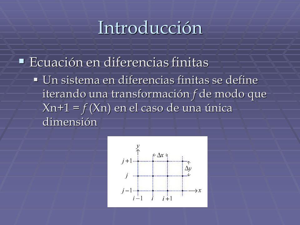 Introducción Ecuación en diferencias finitas Ecuación en diferencias finitas Un sistema en diferencias finitas se define iterando una transformación f