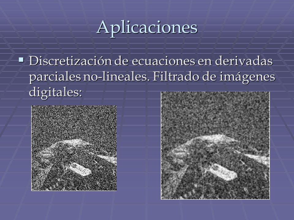 Aplicaciones Discretización de ecuaciones en derivadas parciales no-lineales. Filtrado de imágenes digitales: Discretización de ecuaciones en derivada