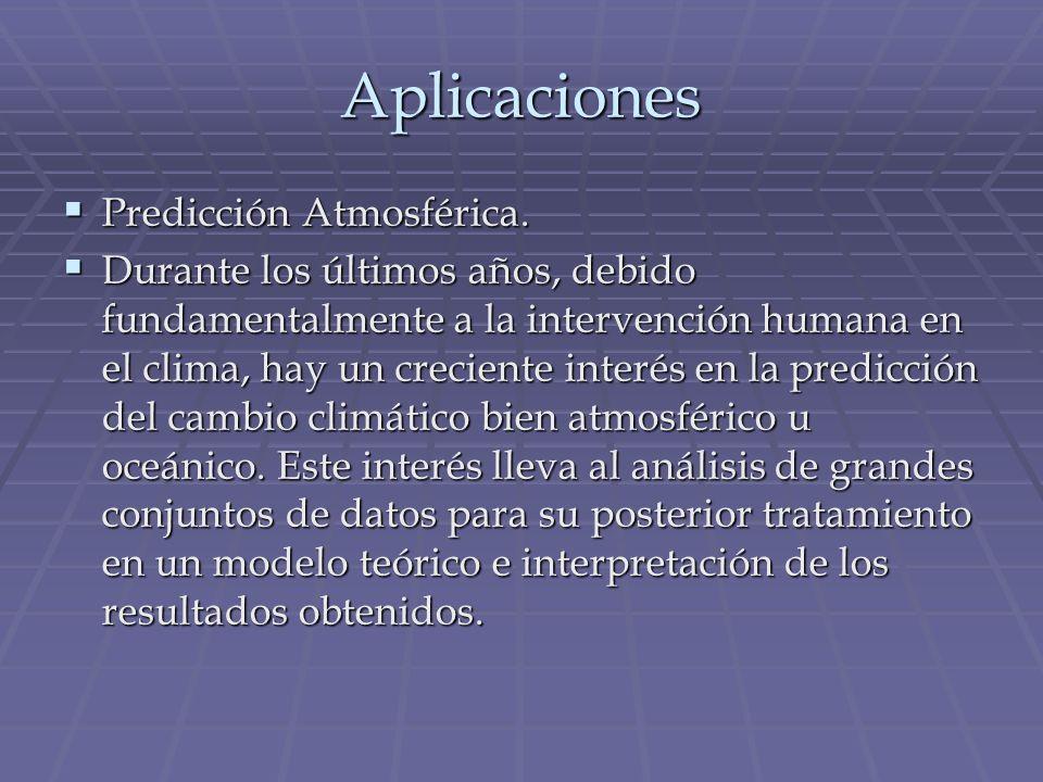 Aplicaciones Predicción Atmosférica. Predicción Atmosférica. Durante los últimos años, debido fundamentalmente a la intervención humana en el clima, h