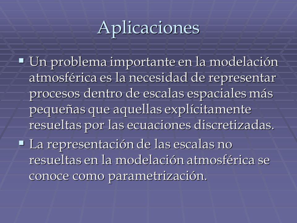 Aplicaciones Un problema importante en la modelación atmosférica es la necesidad de representar procesos dentro de escalas espaciales más pequeñas que