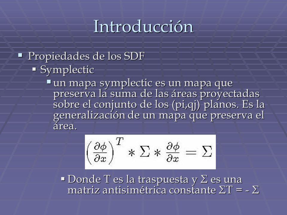 Introducción Propiedades de los SDF Propiedades de los SDF Symplectic Symplectic un mapa symplectic es un mapa que preserva la suma de las áreas proye