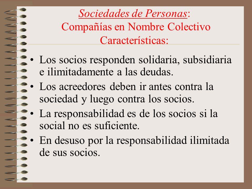 Sociedades de Personas: Compañías en Nombre Colectivo Características: Los socios responden solidaria, subsidiaria e ilimitadamente a las deudas. Los