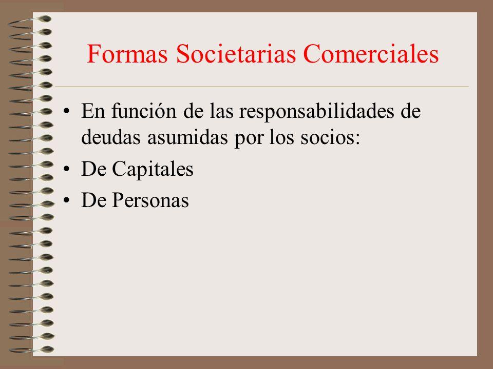 Formas Societarias Comerciales En función de las responsabilidades de deudas asumidas por los socios: De Capitales De Personas
