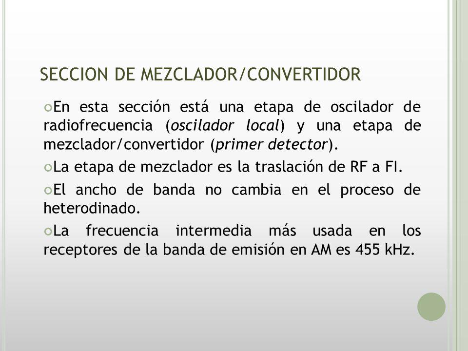 CIRCUITOS DE MEZCLADOR/CONVERTIDOR El objeto de la etapa de mezclador/convertidor es la conversión descendente de las radiofrecuencias que llegan hasta las frecuencias intermedias.