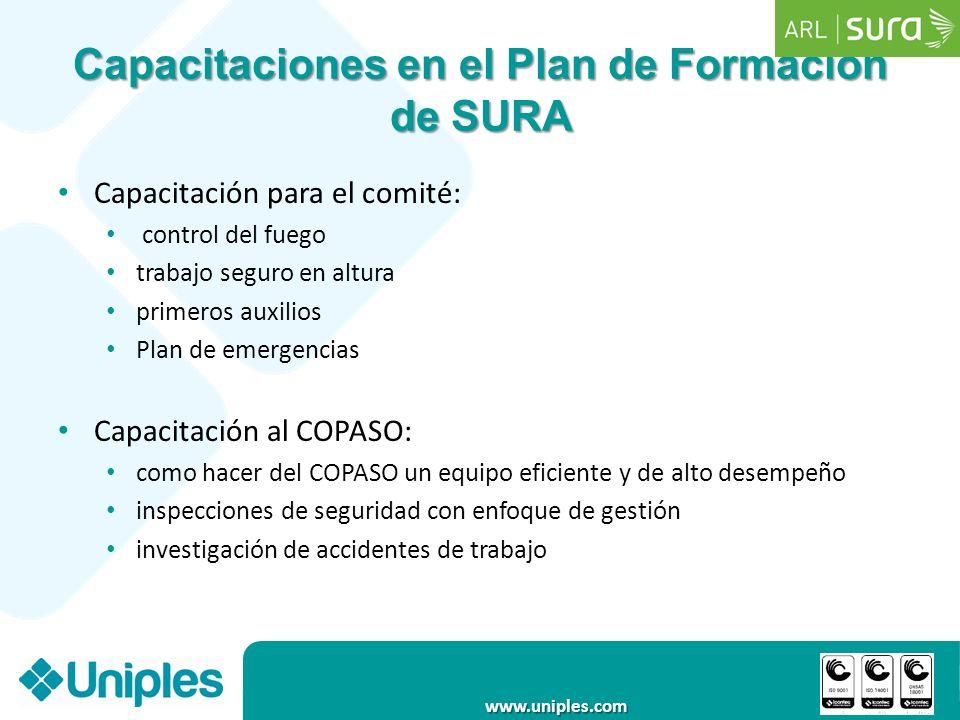 www.uniples.com Capacitaciones en el Plan de Formación de SURA Capacitación para el comité: control del fuego trabajo seguro en altura primeros auxili