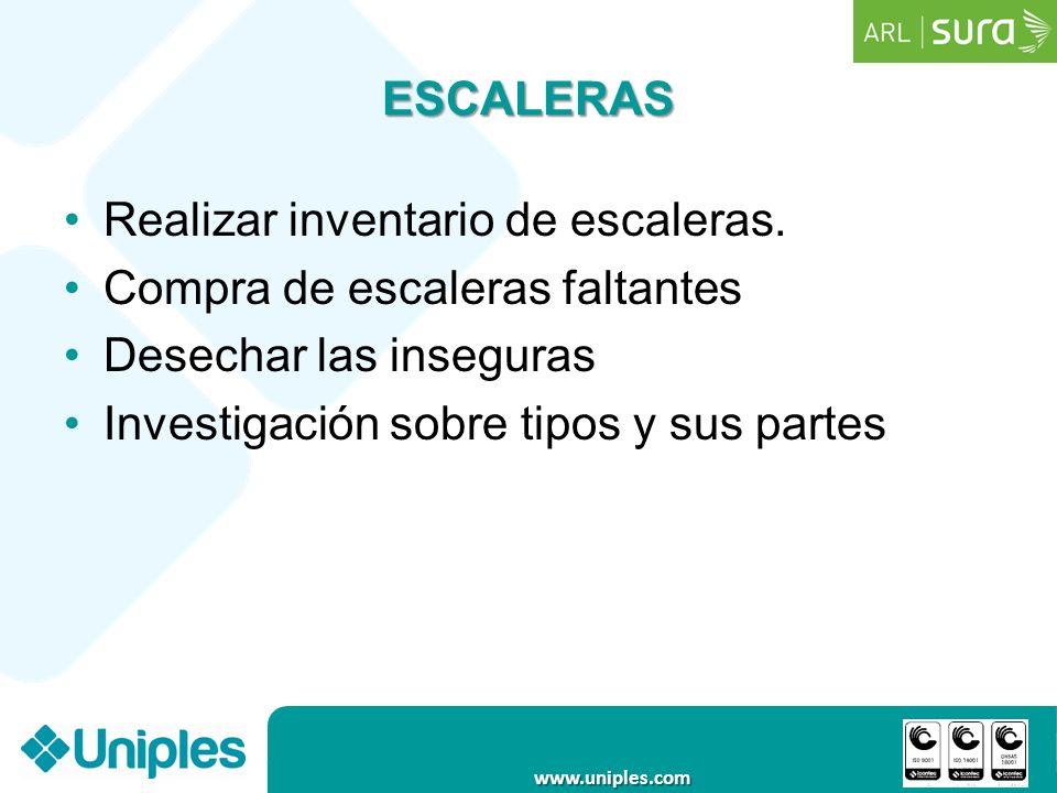 www.uniples.com ESCALERAS Realizar inventario de escaleras. Compra de escaleras faltantes Desechar las inseguras Investigación sobre tipos y sus parte