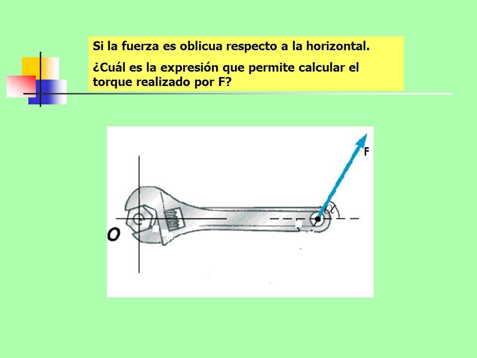 Si la fuerza es oblicua respecto a la horizontal. ¿Cuál es la expresión que permite calcular el torque realizado por F? F