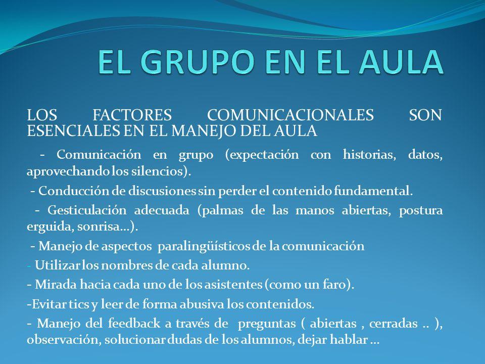 LOS FACTORES COMUNICACIONALES SON ESENCIALES EN EL MANEJO DEL AULA - Comunicación en grupo (expectación con historias, datos, aprovechando los silenci