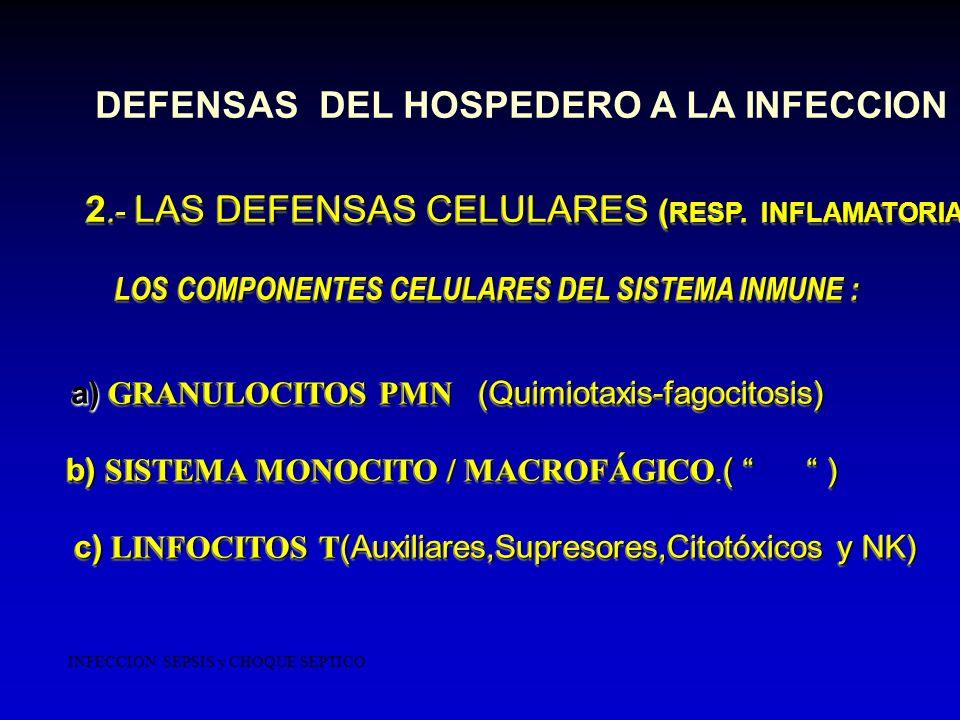 2.- LAS DEFENSAS CELULARES ( RESP. INFLAMATORIA) 2.- LAS DEFENSAS CELULARES ( RESP. INFLAMATORIA) LOS COMPONENTES CELULARES DEL SISTEMA INMUNE : LOS C