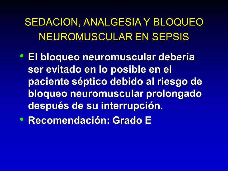 SEDACION, ANALGESIA Y BLOQUEO NEUROMUSCULAR EN SEPSIS El bloqueo neuromuscular debería ser evitado en lo posible en el paciente séptico debido al ries