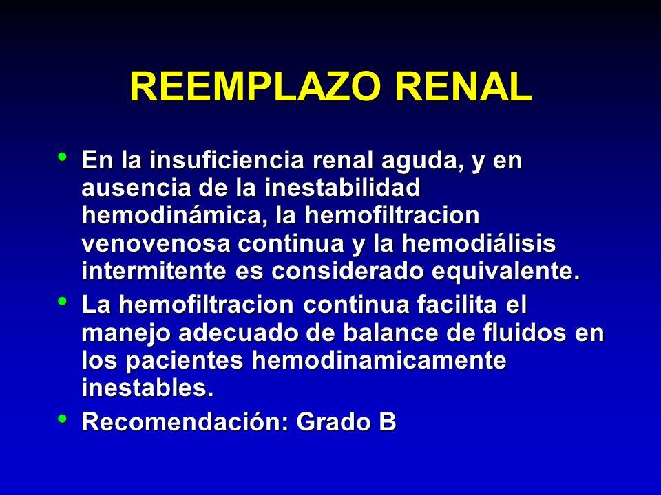 REEMPLAZO RENAL En la insuficiencia renal aguda, y en ausencia de la inestabilidad hemodinámica, la hemofiltracion venovenosa continua y la hemodiális