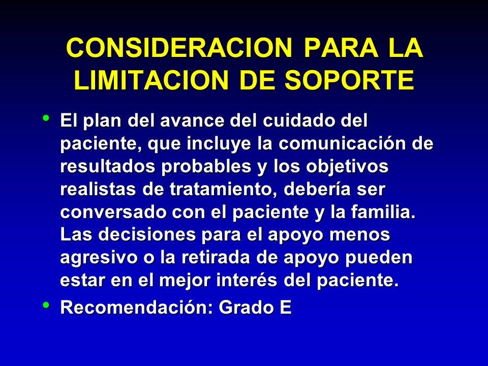 CONSIDERACION PARA LA LIMITACION DE SOPORTE El plan del avance del cuidado del paciente, que incluye la comunicación de resultados probables y los obj