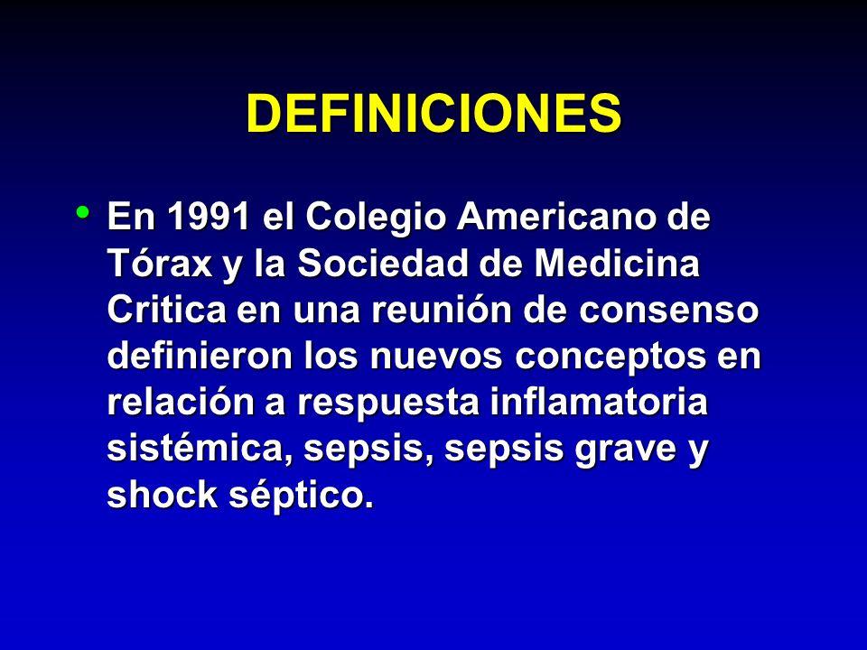 DEFINICIONES En 1991 el Colegio Americano de Tórax y la Sociedad de Medicina Critica en una reunión de consenso definieron los nuevos conceptos en rel
