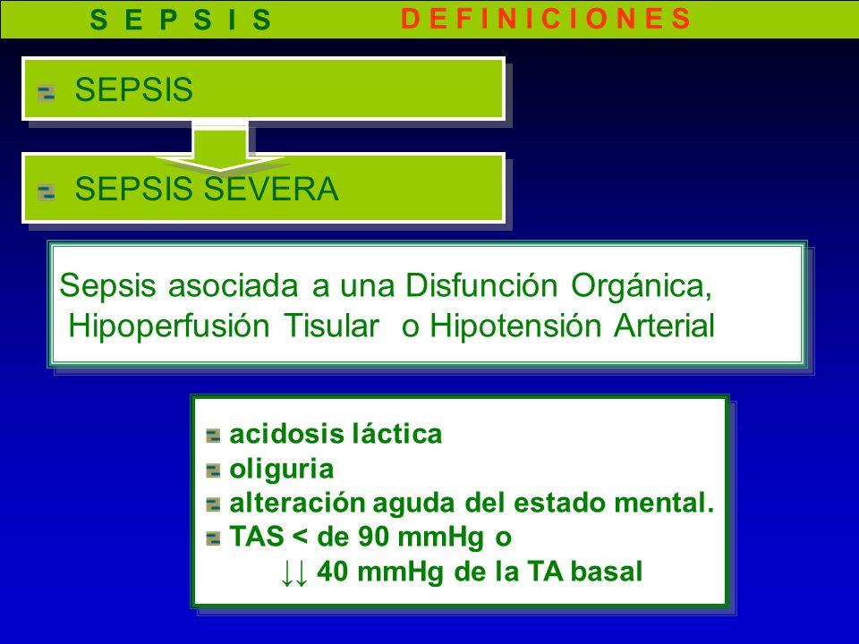 D E F I N I C I O N E S SEPSIS SEVERA acidosis láctica oliguria alteración aguda del estado mental. TAS < de 90 mmHg o 40 mmHg de la TA basal acidosis