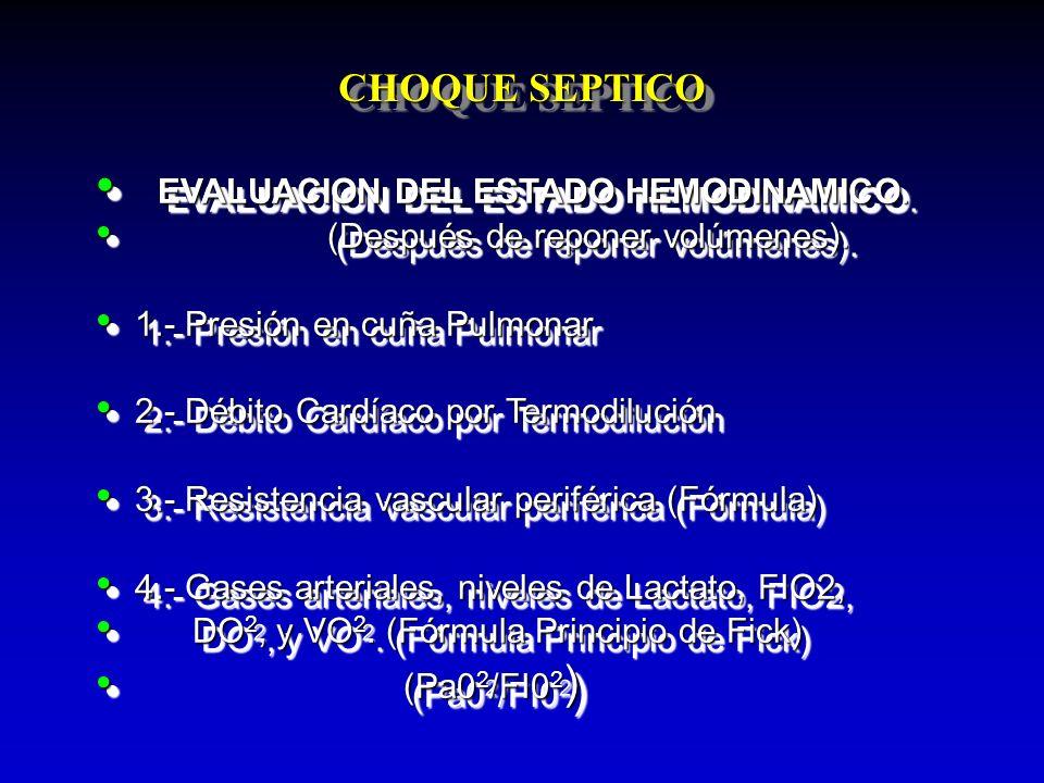 CHOQUE SEPTICO EVALUACION DEL ESTADO HEMODINAMICO. EVALUACION DEL ESTADO HEMODINAMICO. (Después de reponer volúmenes). (Después de reponer volúmenes).