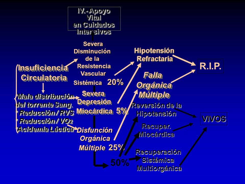 InsuficienciaCirculatoria *Mala distribución del torrente Sang. * Reducción / RVS * Reducción / VO 2 *Acidemia Láctica Insuficiencia Circulatoria *Mal