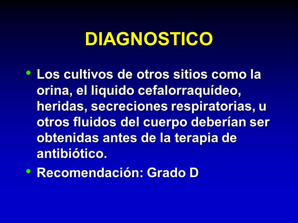 DIAGNOSTICO Los cultivos de otros sitios como la orina, el liquido cefalorraquídeo, heridas, secreciones respiratorias, u otros fluidos del cuerpo deb