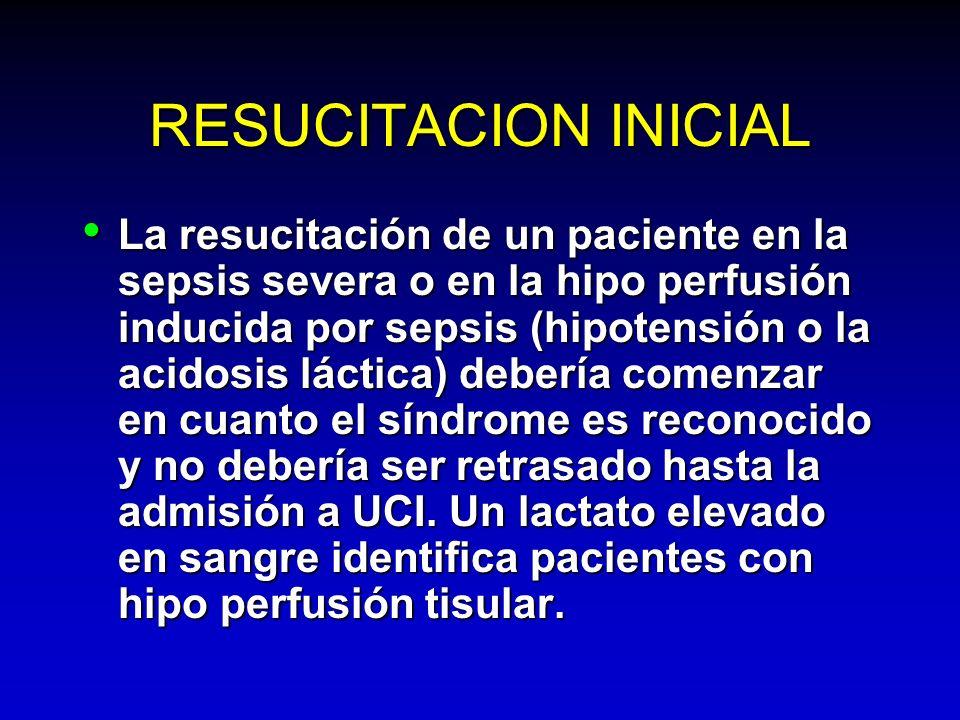 RESUCITACION INICIAL La resucitación de un paciente en la sepsis severa o en la hipo perfusión inducida por sepsis (hipotensión o la acidosis láctica)