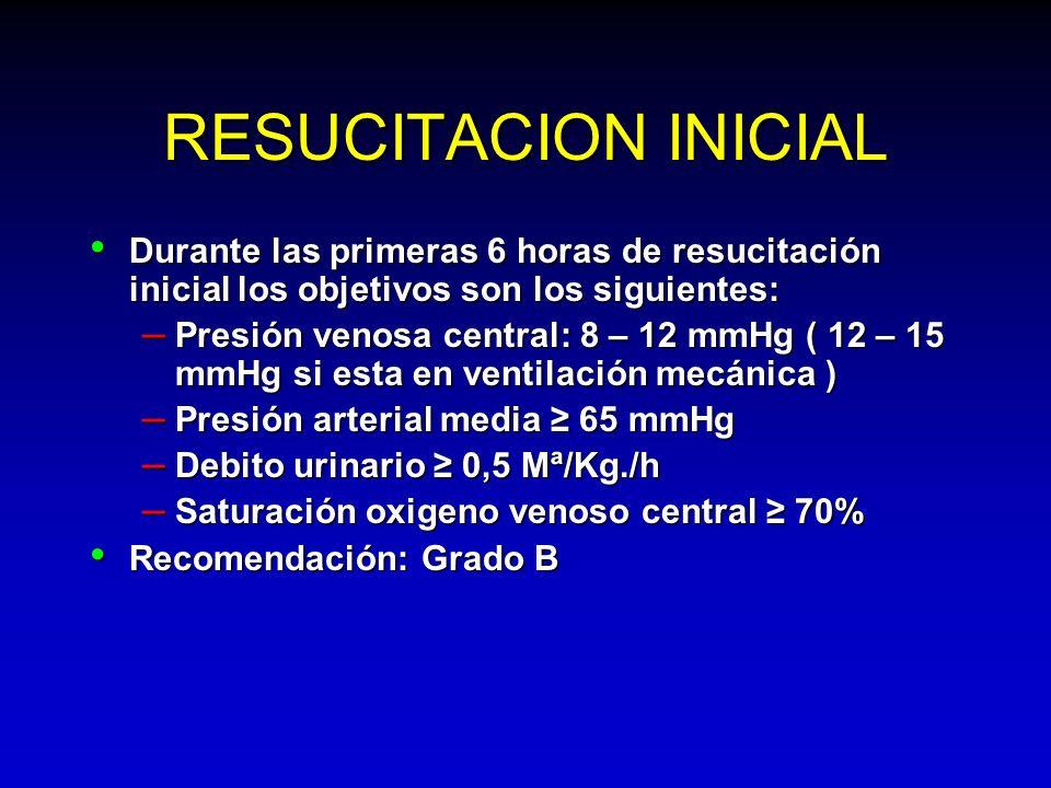 RESUCITACION INICIAL Durante las primeras 6 horas de resucitación inicial los objetivos son los siguientes: Durante las primeras 6 horas de resucitaci