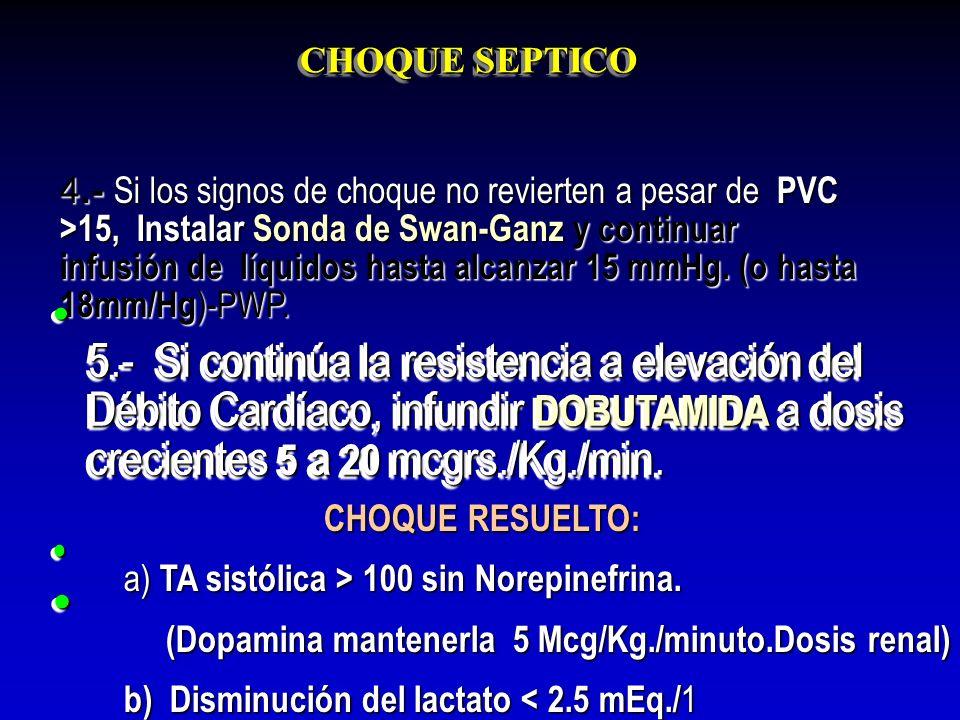 CHOQUE SEPTICO 5.- Si continúa la resistencia a elevación del Débito Cardíaco, infundir DOBUTAMIDA a dosis crecientes 5 a 20 mcgrs./Kg./min. 5.- Si co