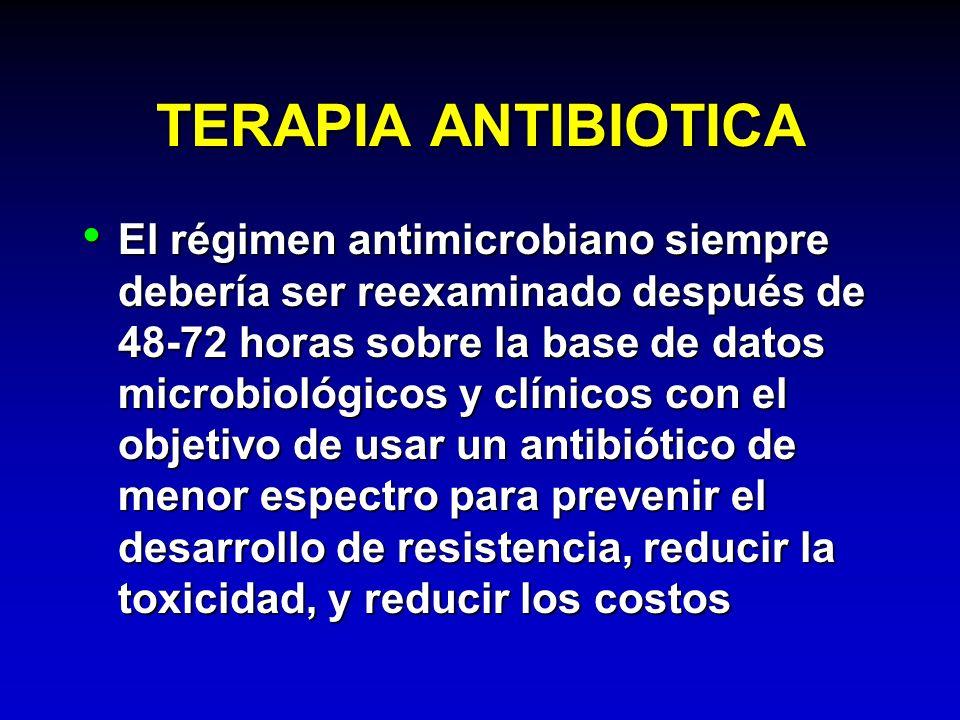 TERAPIA ANTIBIOTICA El régimen antimicrobiano siempre debería ser reexaminado después de 48-72 horas sobre la base de datos microbiológicos y clínicos