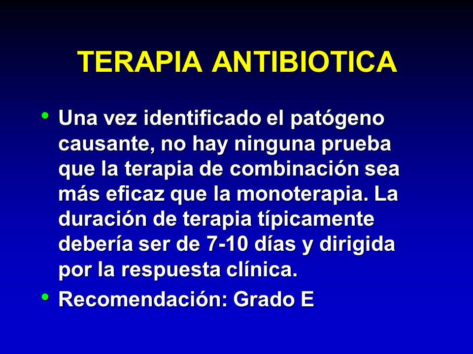 TERAPIA ANTIBIOTICA Una vez identificado el patógeno causante, no hay ninguna prueba que la terapia de combinación sea más eficaz que la monoterapia.