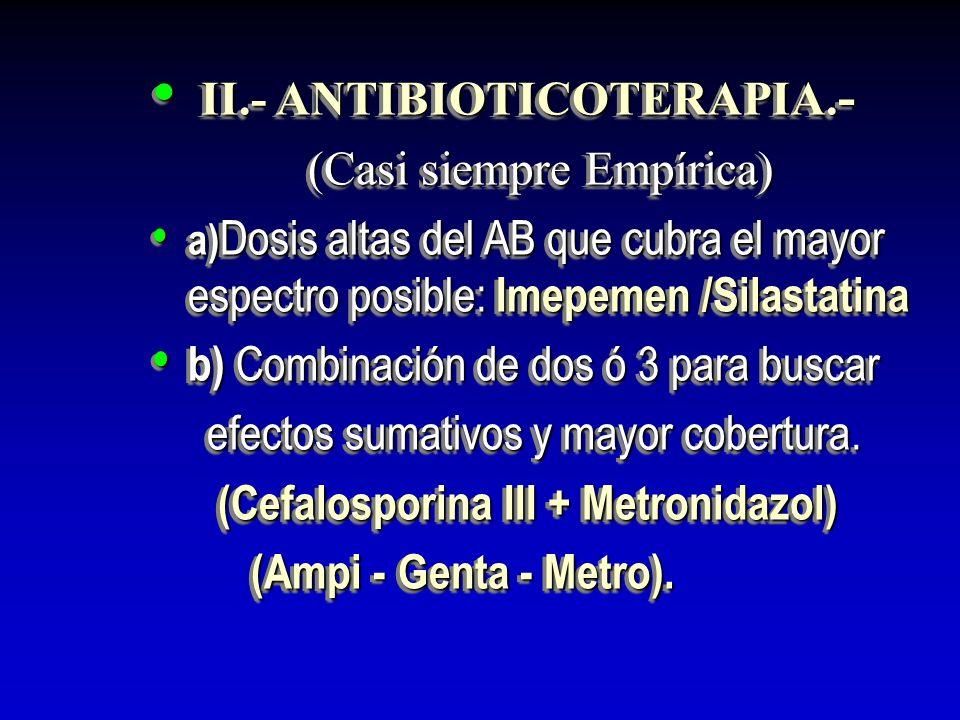 II.- ANTIBIOTICOTERAPIA. - II.- ANTIBIOTICOTERAPIA. - (Casi siempre Empírica) (Casi siempre Empírica) a) Dosis altas del AB que cubra el mayor espectr
