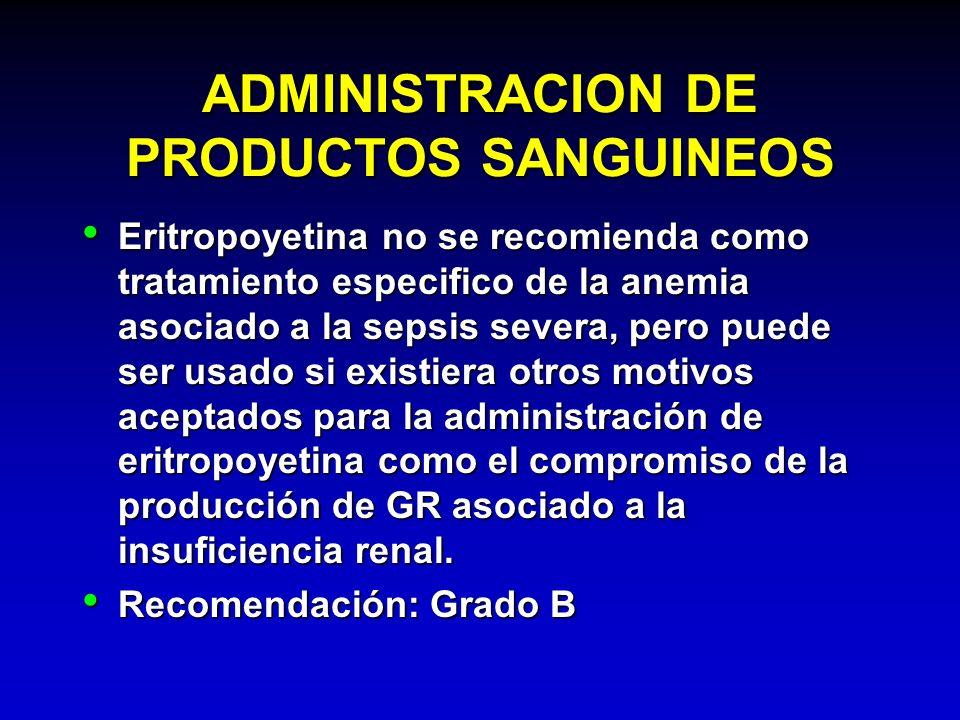 ADMINISTRACION DE PRODUCTOS SANGUINEOS Eritropoyetina no se recomienda como tratamiento especifico de la anemia asociado a la sepsis severa, pero pued