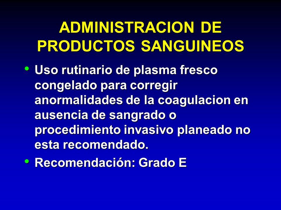 ADMINISTRACION DE PRODUCTOS SANGUINEOS Uso rutinario de plasma fresco congelado para corregir anormalidades de la coagulacion en ausencia de sangrado