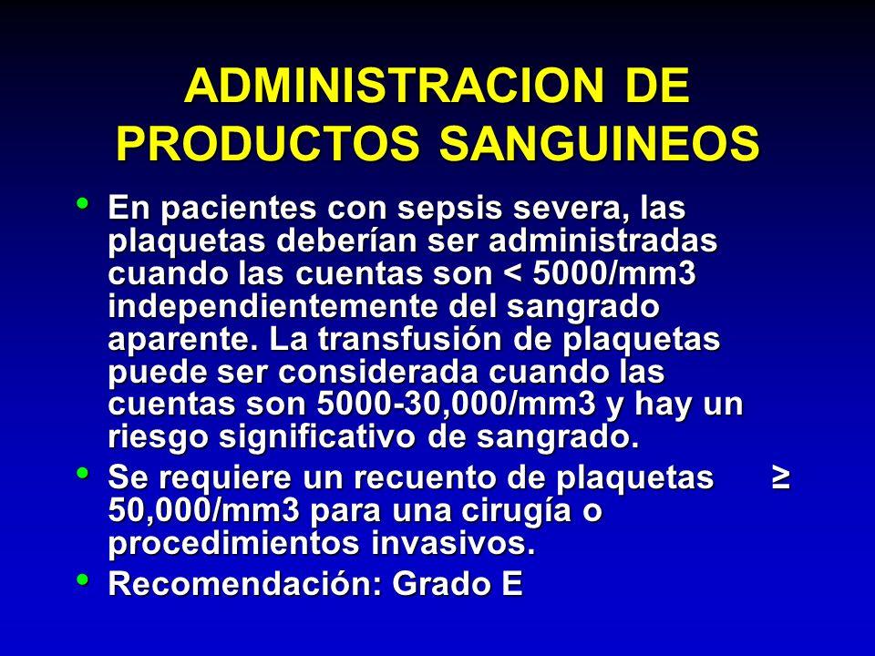 ADMINISTRACION DE PRODUCTOS SANGUINEOS En pacientes con sepsis severa, las plaquetas deberían ser administradas cuando las cuentas son < 5000/mm3 inde