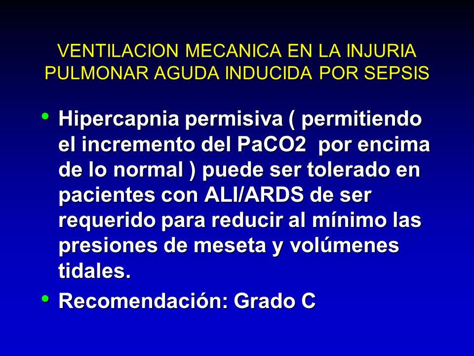 VENTILACION MECANICA EN LA INJURIA PULMONAR AGUDA INDUCIDA POR SEPSIS Hipercapnia permisiva ( permitiendo el incremento del PaCO2 por encima de lo nor