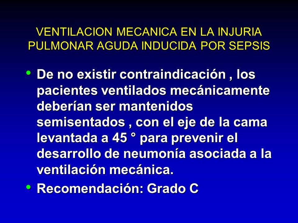 VENTILACION MECANICA EN LA INJURIA PULMONAR AGUDA INDUCIDA POR SEPSIS De no existir contraindicación, los pacientes ventilados mecánicamente deberían
