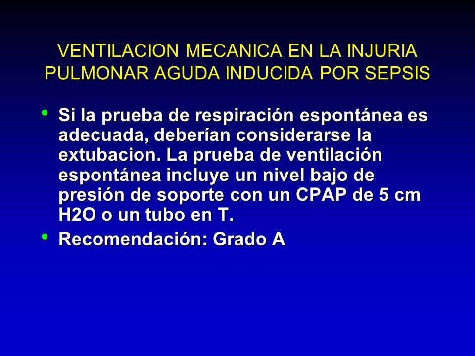 VENTILACION MECANICA EN LA INJURIA PULMONAR AGUDA INDUCIDA POR SEPSIS Si la prueba de respiración espontánea es adecuada, deberían considerarse la ext
